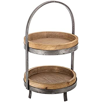 Amazon Com Creative Co Op 15 Quot Round Wood Two Tier Tray