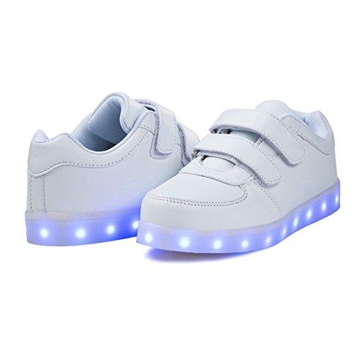 SAGUARO® Unisex niños USB Carga LED Luz Luminosas Flash Zapatos Zapatillas de Deporte para Los Reyes Magos Blanco 6