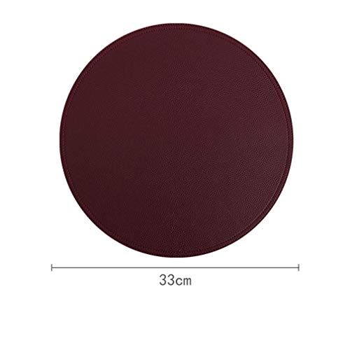 Round Placemats,Luxury PU Leather Table Mats, 13Inch Place mats Waterproof Heat Insulation Dining Table Mat