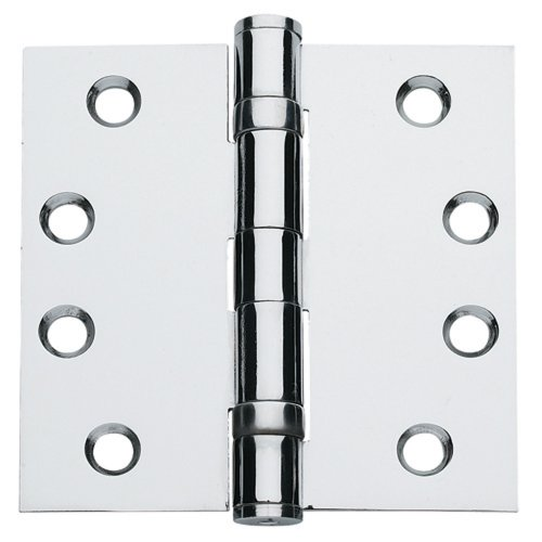 Chrome Ball Bearing Hinges - Global Door Controls 4.5 in. x 4.5 in. Bright Chrome Ball Bearing Non-Removable Pin Steel Hinge - Set of 3