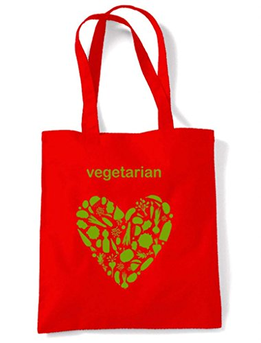 Vegetarian Tote Heart Bag Red Heart Vegetarian Shoulder qqPxUf7r