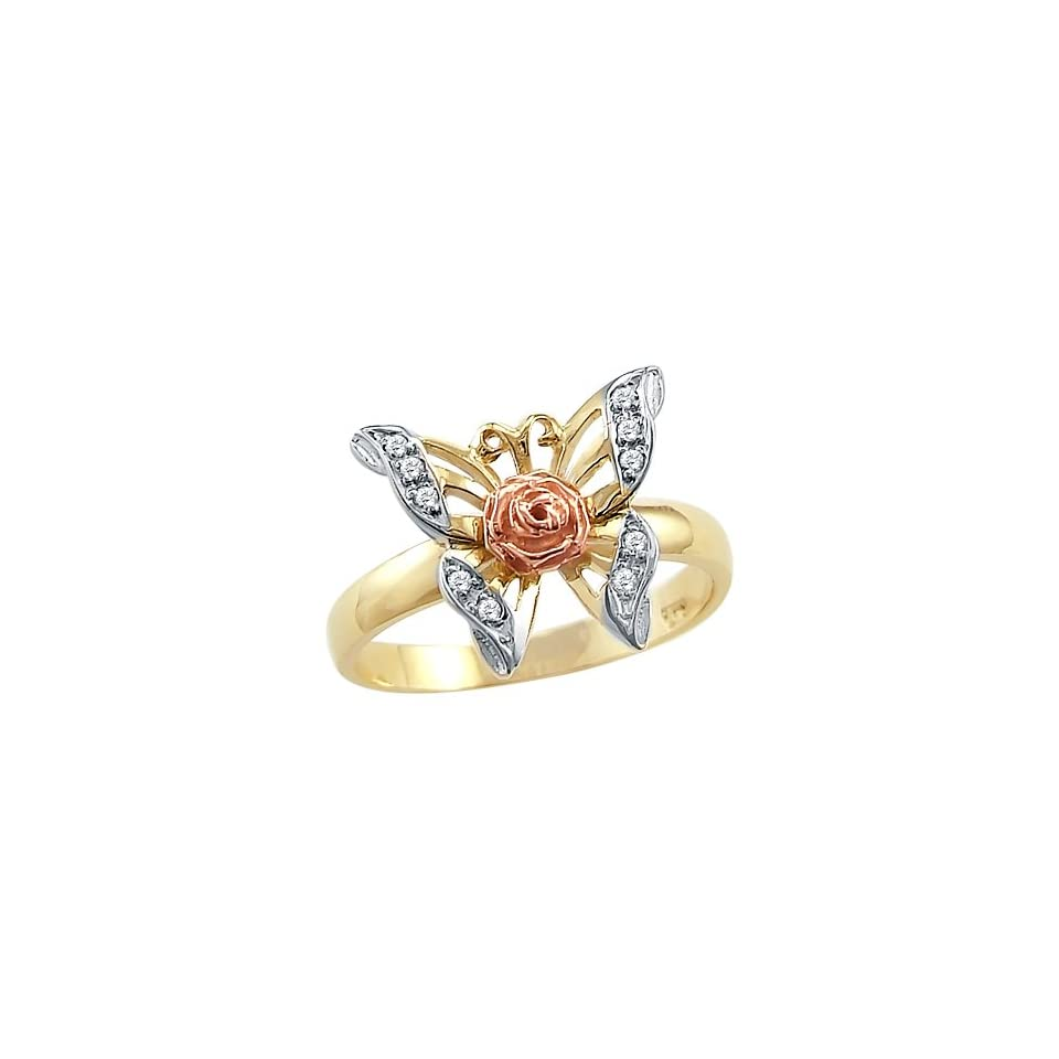 Size  13   Solid 14k Yellow Rose Two Tone Gold Butterfly Flower CZ Cubic Zirconia Ring