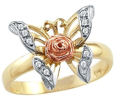 Two Tone Gold Flower Ring (Size- 8.5 - Solid 14k Yellow Rose Two Tone Gold Butterfly Flower CZ Cubic Zirconia Ring)