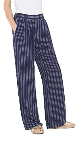 Michael Michael Kors Woman Classic Pant - MICHAEL Michael Kors Bengal Stripe Lined Wide Leg Pants Trousers, True Navy (Large)