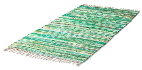 Teppich FLECKI, grün, gestreift, handgewebt, 60x120 cm