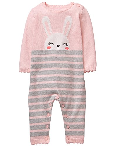 Gymboree Baby Girls Sleeve Long One-Piece, Peek a Boo Bunny Pink, 3-6 Mo - Sweater Knit Pants