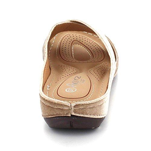 London Sko Medium Kvinner Aarz Komfort Slip Damene Flat Lett Uformell Sandal Åpen Størrelse Beige on Tå Kilehæl SdT06w0n
