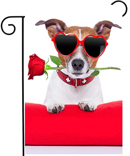 ShineSnow Happy Valentines Day Funny Hipster Dog with Red Rose Flower Garden Yard Flag 12x 18 Double Sided Polyester Welcome House Flag Banners for Patio Lawn Outdoor Home Decor