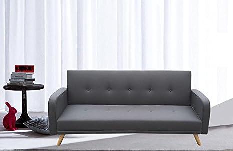 Divano letto microfibra grigio 3 posti reclinabile piedini legno ...