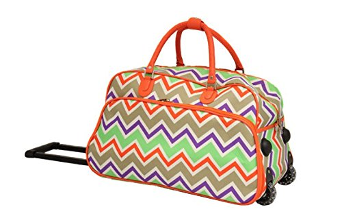 DH Girls Orange Chevron Duffel Bag, Carry On Luggage, Zig Zag Duffle, Purple Green