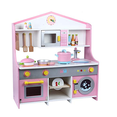 Basde Kitchen Toy Set, Fun Kitchen Set for Children's Home Cooking Tableware, Wooden Simulation Portable Children's House House Sale Set, Best Interaction Gifts for Boys and Girls