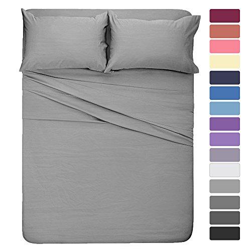 HOMEIDEAS 4 Pieces Bed Sheet Set Full Sheet Light Gray Super Soft Microfiber Bedding Sheet 16-Inch Deep Pockets,Hypoallergenic & Fade Resistant