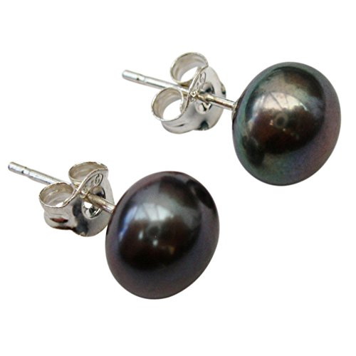 8mm Peacock (Black) Cultured Pearl Silver 925 Stud Earrings by Pearls Paradise