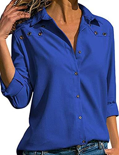 Longue Manche Shirts V Chemisier Grande Casual de Chic Bleu Femme lgant Tee T Mousseline Taille Bouton Classique Hauts Longue Blouse Col Chemise Soie Tunique Tops q7xw7grn5Y