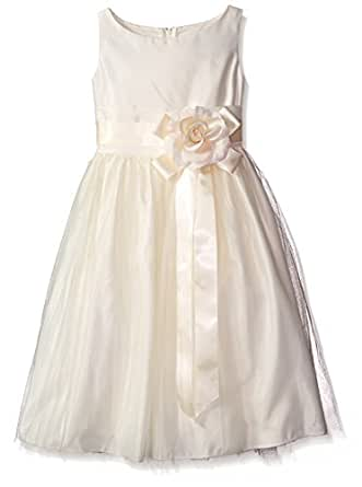 Sweet kids Girls Vintage Satin Tulle Special Occasion  Flower- 2T - Ivory