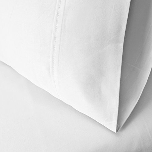 100% Premium Long-Staple Combed Cotton 300 Thread Count Standard 2-Piece Pillowcase Set, Single Ply, Solid, White