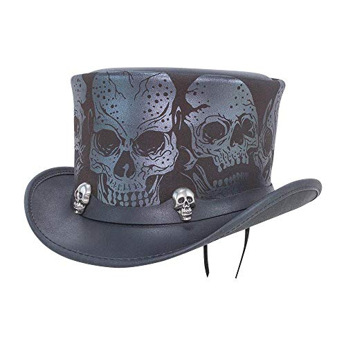 Voodoo Hatter Silver Skull by American Hat Makers Leather Top Hat, Black Finished - Medium/Large