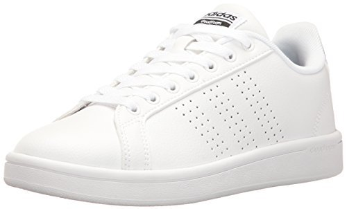 adidas Women's Shoes Cloudfoam Advantage Clean Sneakers, White/White/Black, (8 M US)