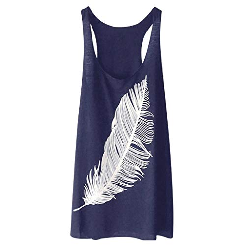 - Londony❀♪ Women's Fashion Off Shoulder Tops Sleeveless Blouse Casual T-Shirt Swing Simple T-Shirt Loose Dress Vest Navy
