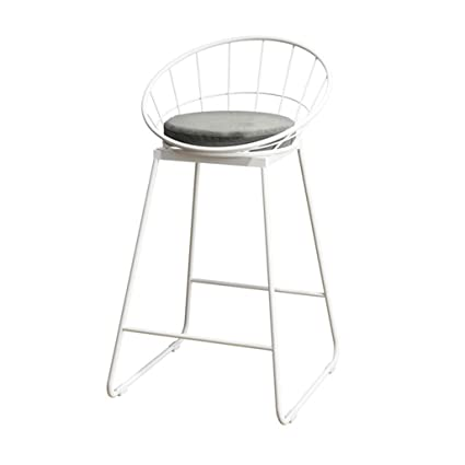 A-Fort Industrial Barstools Chair Footrest Stool with Backrest Round Cushion Seat Dining Chairs for Kitchen | Pub | Café Bar Counter Stool White ...
