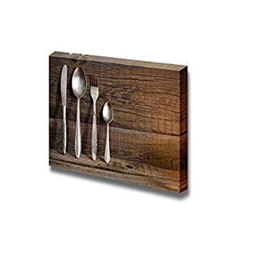 Canvas Prints Wall Art - Cutlery Kitchenware on Old Wooden Boards Food/Kitchen Concept | Modern Wall Decor/Home Decoration Stretched Gallery Canvas Wrap Giclee Print & Ready to Hang - 32