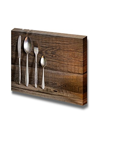 Cutlery Kitchenware on Old Wooden Boards Food Kitchen Concept Wall Decor ation
