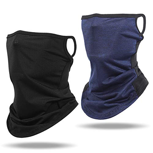 2 Pack UV Proof Cycle Balaclava for Men Women Face Bandana Neck Gaiter with Ear Loops Stretchy Triangle Face Cover Scarf