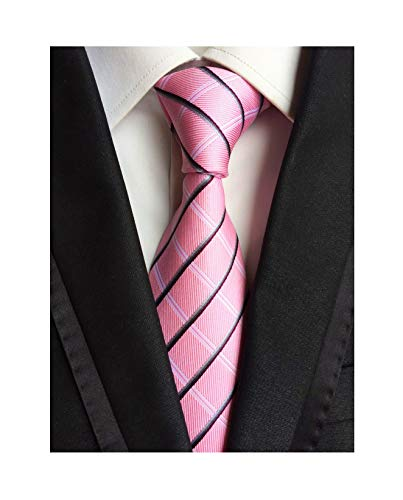 (Blush Pink Silk Wedding Tie Classic Plaid Fashion Daily Wear Working for Men Boy)