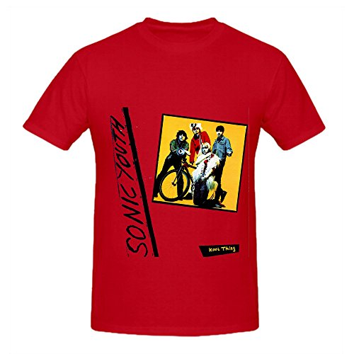 Sonic Youth Kool Thing Soundtrack Men Round Neck Screen Printed T Shirts Red (Joseph Wool Flannel)