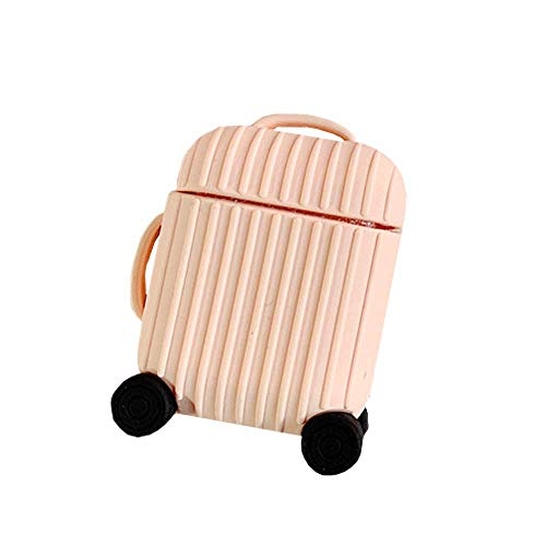 BONTOUJOUR AirPods Case, Creative Suitcase Shape Stripe Surface Silicone Case Cover Protective Skin for Apple AirPods-Pink