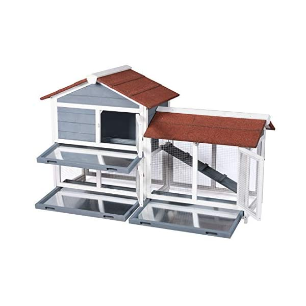 "Good Life Two Floors 62"" Wooden Outdoor Indoor Roof Waterproof Bunny Hutch Rabbit Cage Guinea Pig Coop PET House for Small to Medium Animals with Stairs and Cleaning Tray PET537 4"
