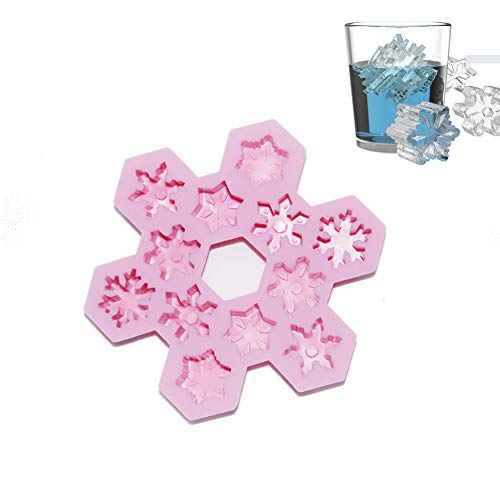 - Silicone Ice Cube Mold Snowflakes – Fun Shapes Maker Tray Container FDA Approved BPA-Free Easy Release Flexible Pink for Drinks Whiskey and Cocktails