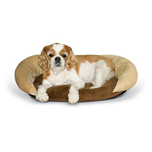 K&H Pet Products Self-Warming Bolster Bed Pet Bed Chocolate/Tan 14