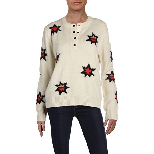 Scotch & Soda Maison Scotch Women's Knitted Henley Pullover, Combo S, Off White, Print, Large (Scotch And Soda Sweater)