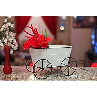 White Enamelware Decorative Metal Farmhouse Wagon Garden Planter : Garden & Outdoor