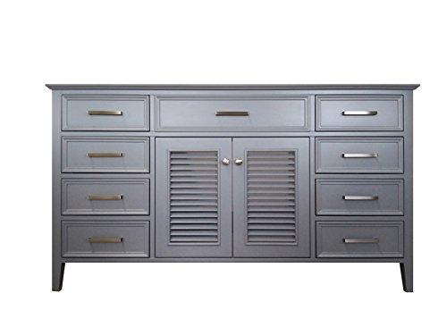 (ARIEL Kensington 60 in. Double Rectangle Sink Base Cabinet in White)