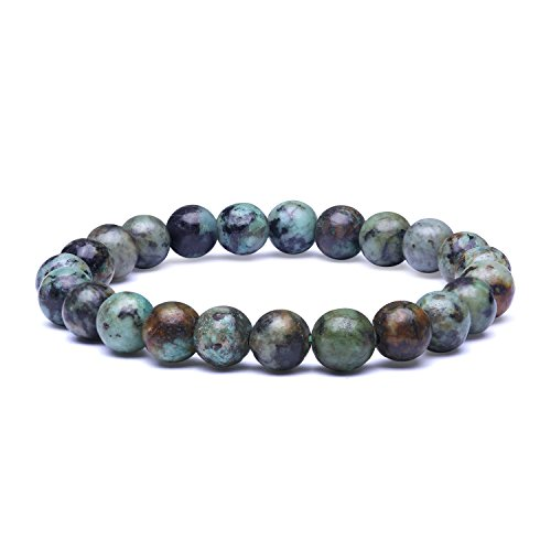 (Candyfancy 8mm Natural African Turquoise Stone Healing Elastic Beaded Stretch Bracelets for Women Men DIY Spiritual Bracelet for 6-6.8Inch Wrist (Natural African Turquoise))