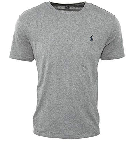 Polo Ralph Lauren Mens Crew Neck T-Shirt (Medium, Grey Heather (Navy ()
