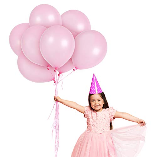 Metallic Light Pink Balloons 12 Inch Baby Pink Balloon Pack of 100 and Curling Ribbon Party Kit for Birthday Baby Shower Wedding Supplies