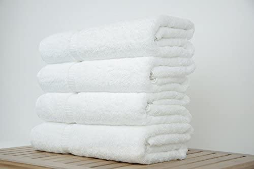 "Luxury Hotel & Spa Bath Towel 100% Genuine Turkish Cotton, 27"" x 54"" ,Set of four,White"