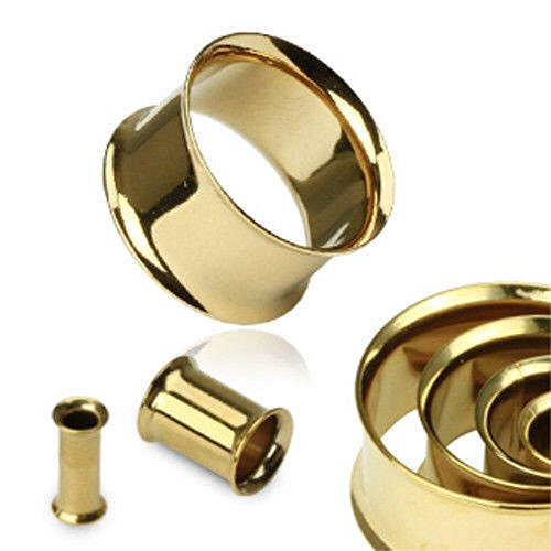 PAIR of Gold Plated Double Flare Tunnels Ear Plugs Earlets Gauge Body Jewelry (1&1/8