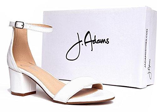 J. Adams Cinturino Alla Caviglia Cinturino Alla Caviglia - Adorabile Tacco Basso A Blocchi - Margherita Di Bianco Pu
