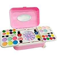 Plutofit Beauty Set Cosmetic and Real Makeup Palette with Mirror and Trolley for Kid's (Pink)
