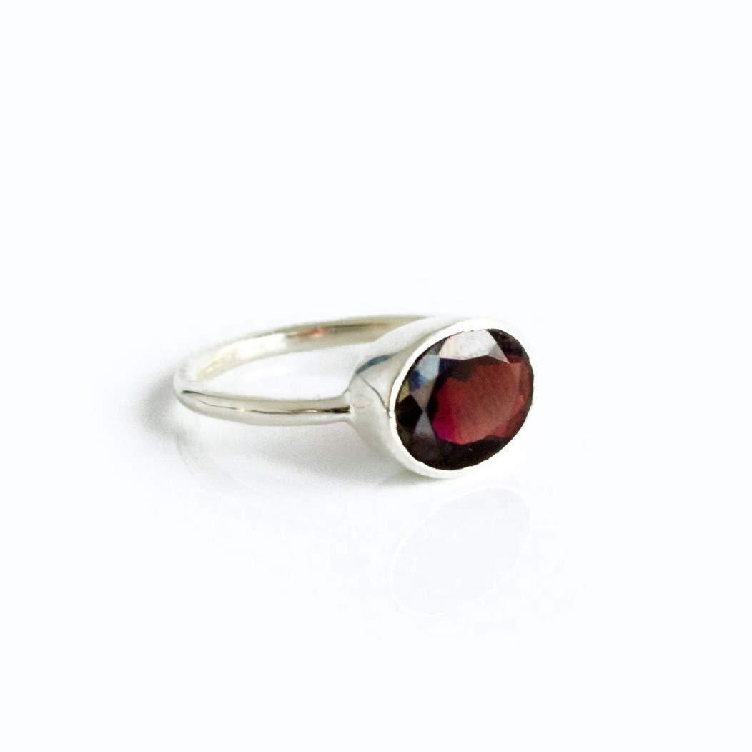 925 Sterling Silver Ring Garnet Quartz Handmade Jewelry Size P 1//2 pk17441