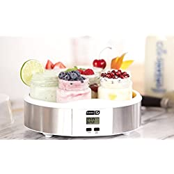 Dash Yogurt Maker Machine with Stainless Steel Base, Digital Display, Auto Timer + 7 Jars (8oz glass jars) with BPA Free Lids: Perfect for Homemade Baby Yogurt, Kids Yogurt, or Grab and Go Breakfast