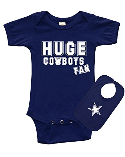 Cowboys Fan (PandoraTees Short Sleeve Onesie + Bib Set - Huge Cowboys Fan, Navy Blue, 0-3m)