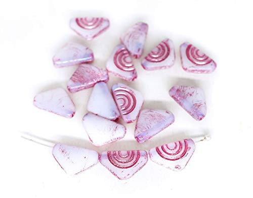 20pcs Opal White Pink Wash Triangle Czech Glass Flat Flag Carved Beads 12mm x 7mm