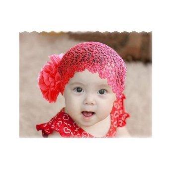 Bébé mignon fleur bandeaux infantile de coton bande de cheveux(rouge) Eforlife