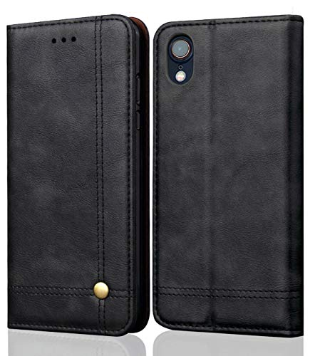 (iPhone XR Case, SINIANL Leather Wallet Case Magnetic Closure With Kikstand & Card Slot Flip Cover for Apple iphone XR 6.1 inch 2018 - Black)