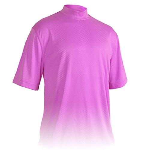 Monterey Club Mens Dry Swing Swiss Dot Texture Solid Mock Neck Shirt #3309 (Light Lavender, 3X-Large)